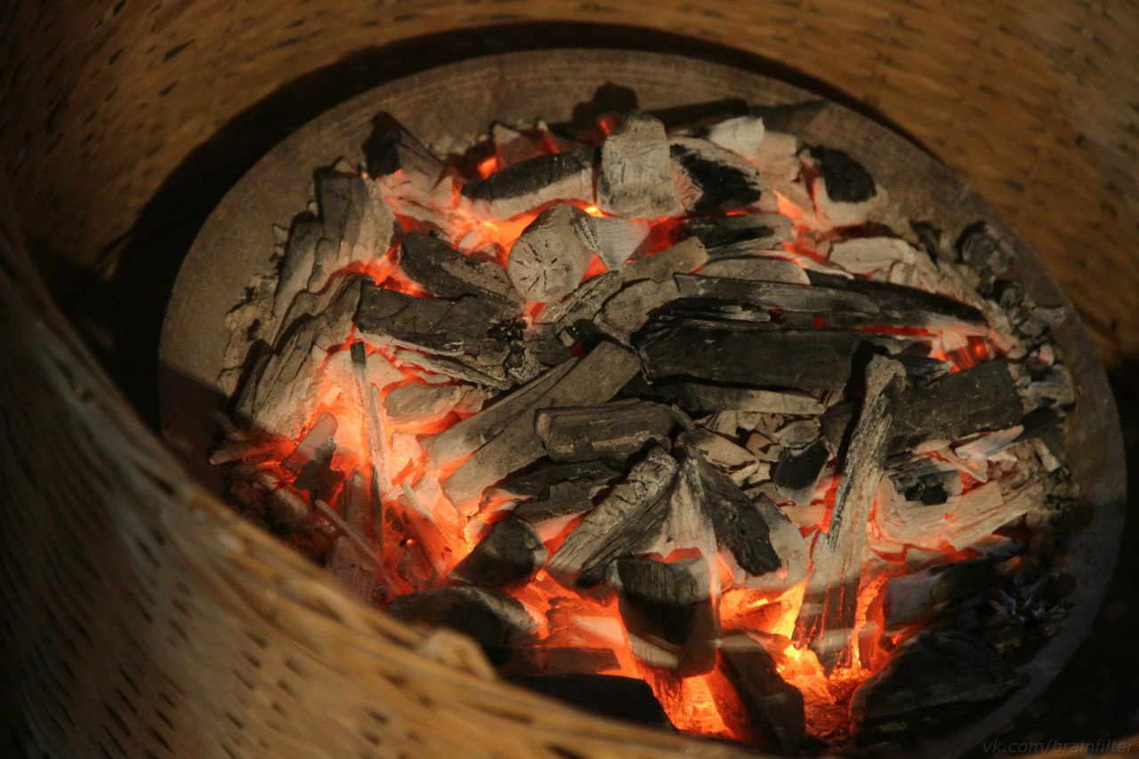 зеленый чай производство прогрев на углях